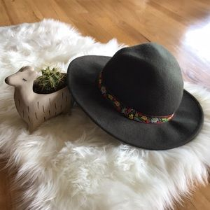 Panama-style felted hat with embroidered florals